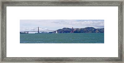 Suspension Bridge With A Mountain Range Framed Print by Panoramic Images