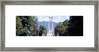 Suspension Bridge With Mountain Framed Print by Panoramic Images