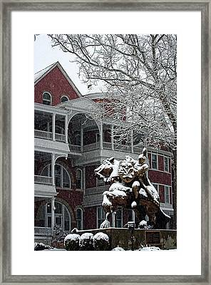Southern Virginia University Knights In The Snow Framed Print by Cathy Shiflett
