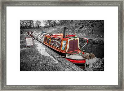 Swallow Canal Boat Framed Print by Adrian Evans