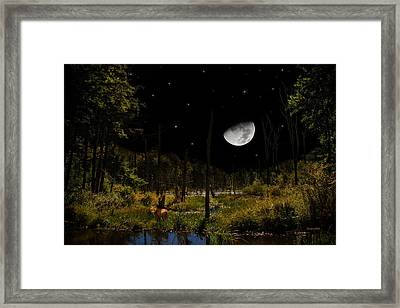 Swamped Moon Landscape Framed Print by Christina Rollo