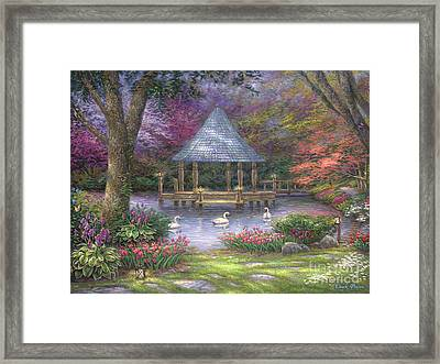 Swan Pond Framed Print by Chuck Pinson