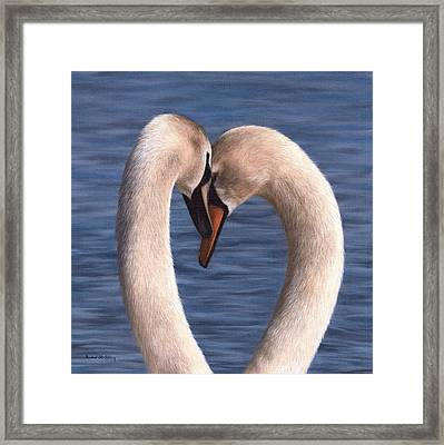 Swans Painting Framed Print by Rachel Stribbling