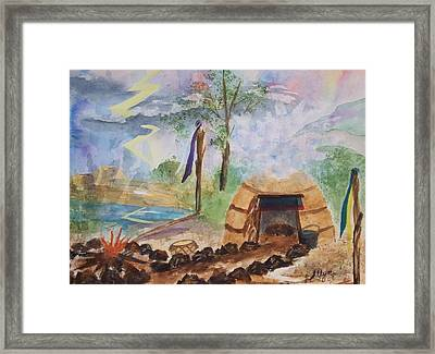 Sweat Lodge Framed Print by Ellen Levinson