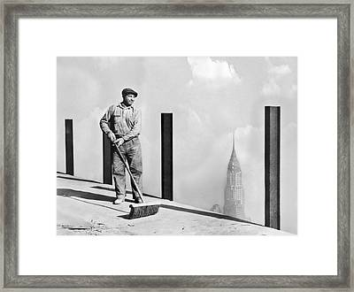 Sweeping The Empire State Bldg Framed Print by Underwood Archives