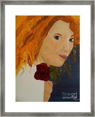 Sweet Lady Holding A Rose Framed Print by Pamela  Meredith