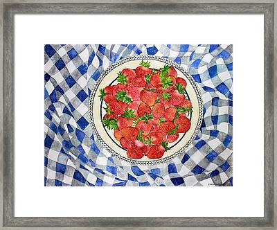 Sweet Strawberries Framed Print by Janet Immordino