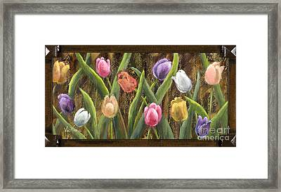 Sweet Tulips With Frame Andgold Leaf By Vic Mastis Framed Print by Vic  Mastis