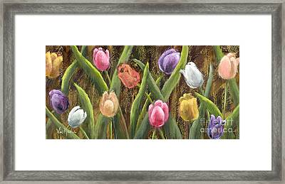 Sweet Tulips With Gold Leaf By Vic Mastis Framed Print by Vic  Mastis