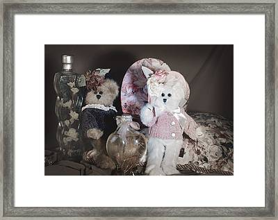 Sweetheart Bears Vintage Framed Print by Camille Lopez