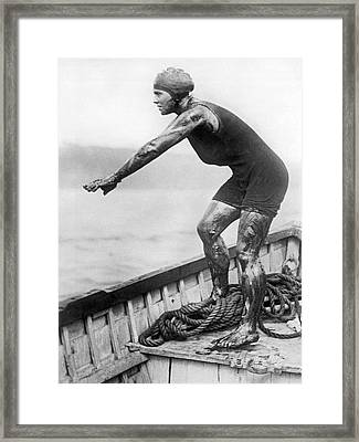 Swimmer Clemington Corson Framed Print by Underwood Archives