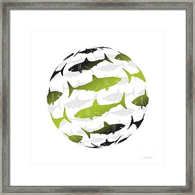 Swimming Green Sharks Around The Globe Framed Print by Amy Kirkpatrick