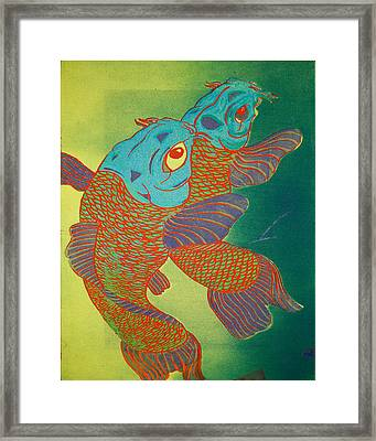 Swimming In A Green Sea Framed Print by Trance Briguglio