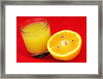 Swimming On Orange Little People On Food Framed Print by Paul Ge