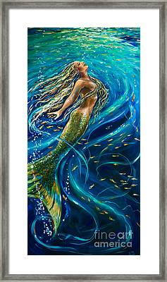 Underwater Diva Framed Print featuring the painting Swimming To The Surface by Linda Olsen