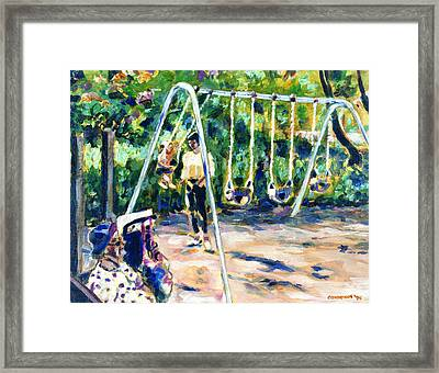 Swings Framed Print by Faye Cummings