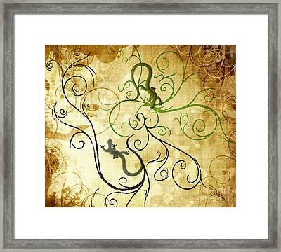 Swirl Geckos On Vintage Paper Framed Print by Sassan Filsoof