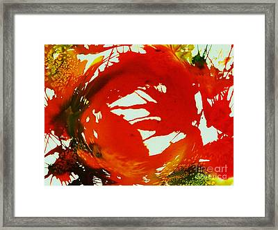 Swirling Crimson Abstract Framed Print by Ellen Levinson