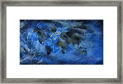 Swirly Blue Acrylic World Map Framed Print by Hakon Soreide