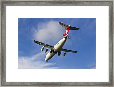 Swiss Air Bae146 Hb-ixw Framed Print by David Pyatt