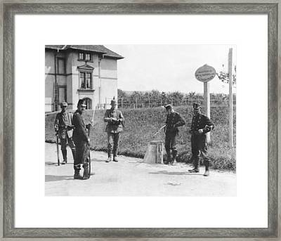 Swiss And German Border Guards Framed Print by Underwood Archives