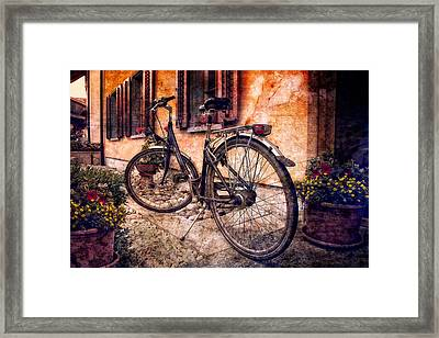 Swiss Bicycle Framed Print by Debra and Dave Vanderlaan