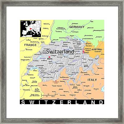 Switzerland Exotic Map Framed Print by Florene Welebny