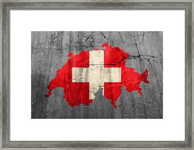 Switzerland Flag Country Outline Painted On Old Cracked Cement Framed Print by Design Turnpike
