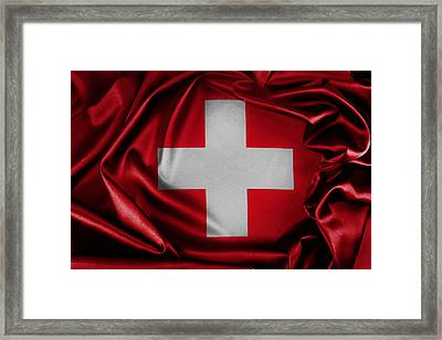 Switzerland Flag Framed Print by Les Cunliffe