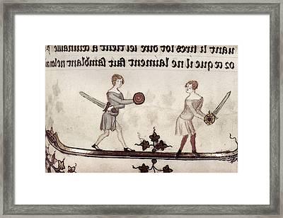 Sword Fight, 14th Century Framed Print by Granger