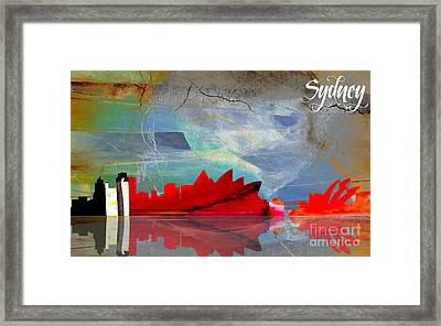 Sydney Australia Skyline Watercolor Framed Print by Marvin Blaine