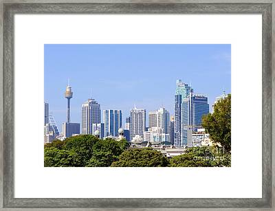 Sydney City Skyline Framed Print by David Hill