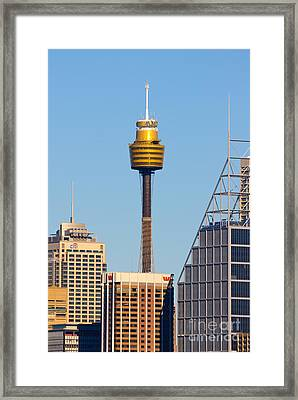 Sydney City Skyline With Sydney Tower Framed Print by David Hill