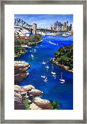 Sydney Harbour Boats Framed Print by Shirley  Peters
