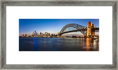 Sydney Harbour Evening Panorama Framed Print by Colin and Linda McKie