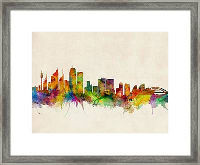 Sydney Skyline Framed Print by Michael Tompsett