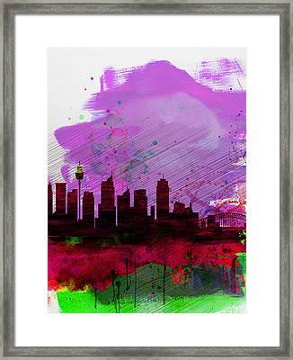 Sydney Watercolor Skyline 2 Framed Print by Naxart Studio