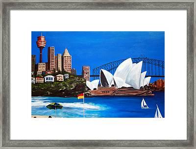 Sydneyscape - Featuring Opera House Framed Print by Lyndsey Hatchwell