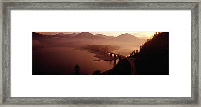 Sylvenstein Lake With Bridge Bavaria Framed Print by Panoramic Images
