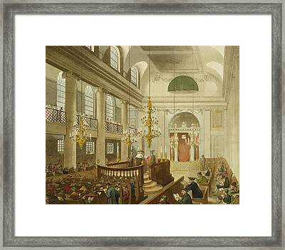 Synagogue At Dukes Place In Houndsditch Framed Print by Pugin And Rowlandson