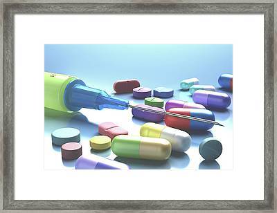 Syringe And Pills Framed Print by Ktsdesign