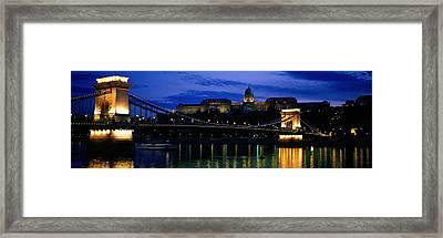 Szechenyi Bridge Royal Palace Budapest Framed Print by Panoramic Images