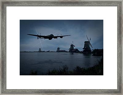 Dambusters Lancaster T For Tommy En Route To The Sorpe Framed Print by Gary Eason
