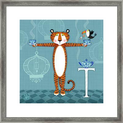 T Is For Tiger Framed Print by Valerie Drake Lesiak