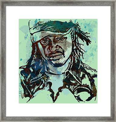 T-pain Faheem Rasheed Najm Stylised Etching Pop Art Poster Framed Print by Kim Wang