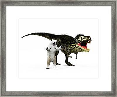 T-rex Dinosaur And Polar Bear Framed Print by Walter Myers