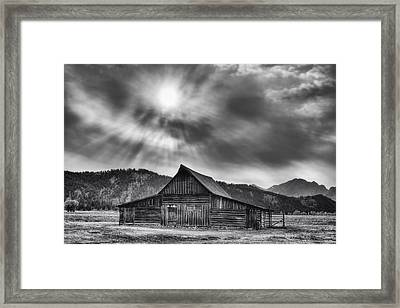 T.a. Moulton Barn - Black And White Framed Print by Mark Kiver