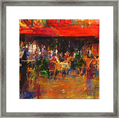 Table At Villefranche Oil On Canvas Framed Print by Peter Graham