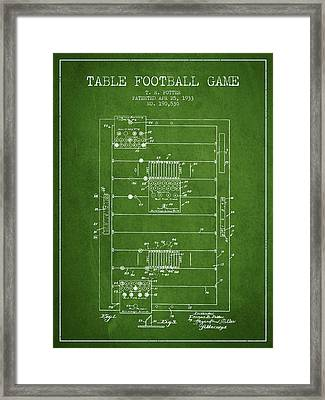 Table Football Game Patent From 1933 - Green Framed Print by Aged Pixel