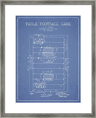 Table Football Game Patent From 1933 - Light Blue Framed Print by Aged Pixel